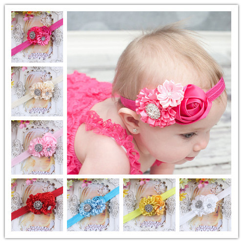 2 Pcs Mixed Colors Flower Hair Clips Snaps 6-7CM Grosgrain Ribbon For Baby Girls